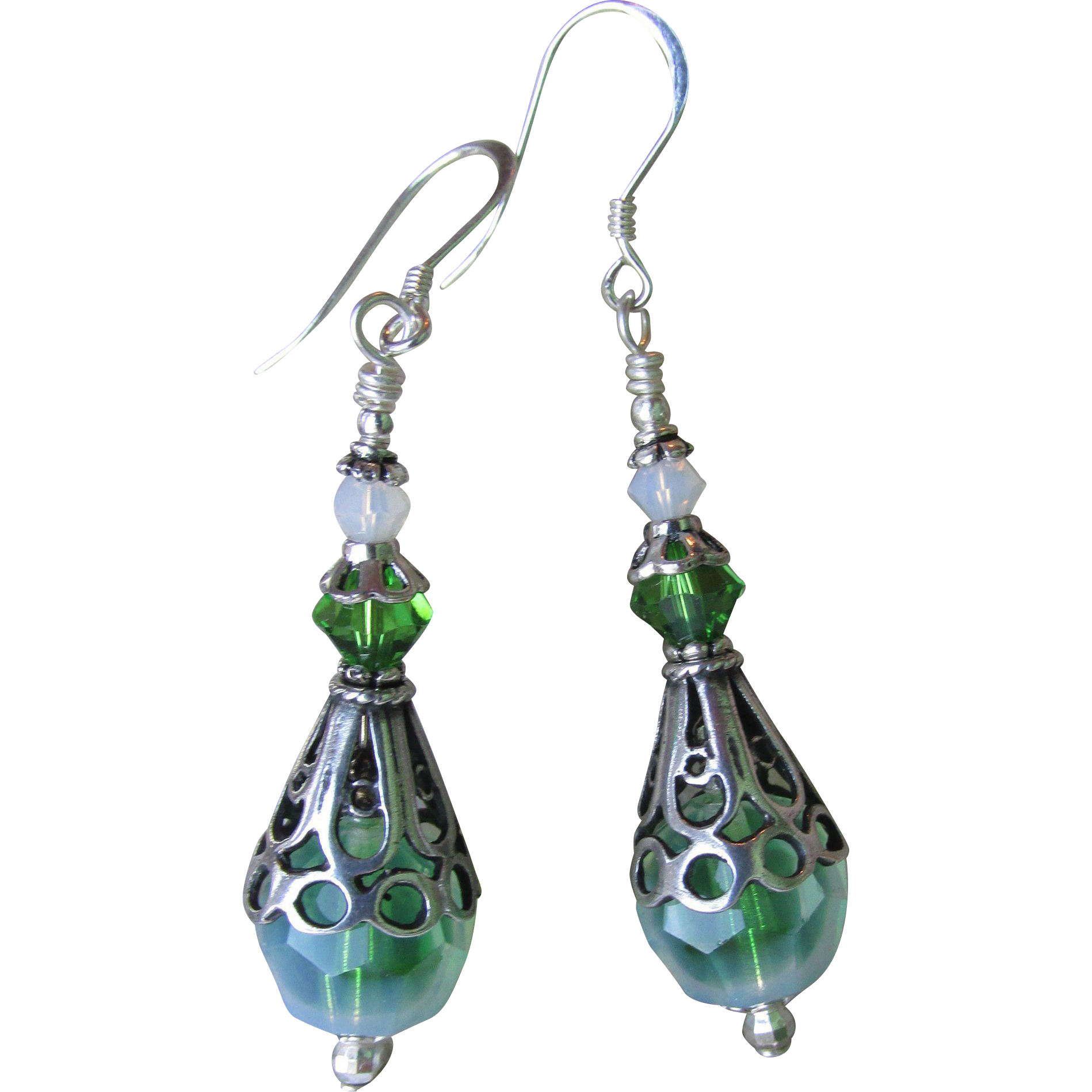 """My Secret Garden"" Lampwork Art Glass Artisan Earrings, ""Sterling Icy Moss"" #87"
