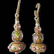 """My Secret Garden"" Art Glass Artisan Earrings, ""Wood Rose"" #85"