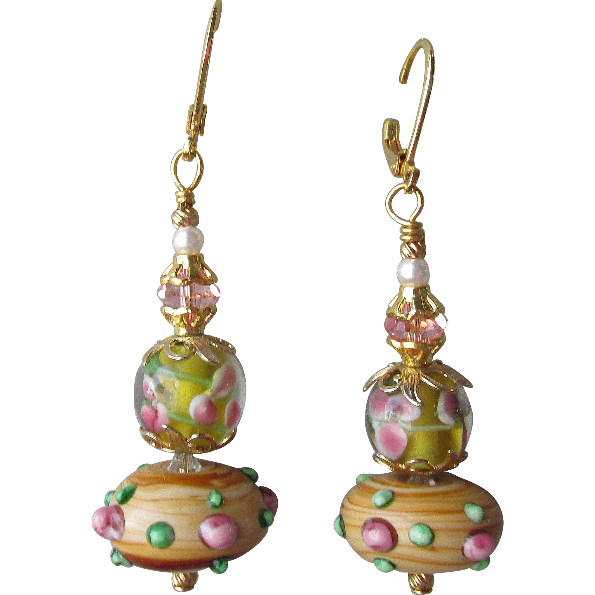 """My Secret Garden"" Art Glass Artisan Earrings, ""Wood Rose"" #85"