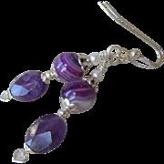 """""""My Secret Garden"""" Art Glass & Amethyst Artisan Earrings, """"Lavender Dreams"""" #88"""