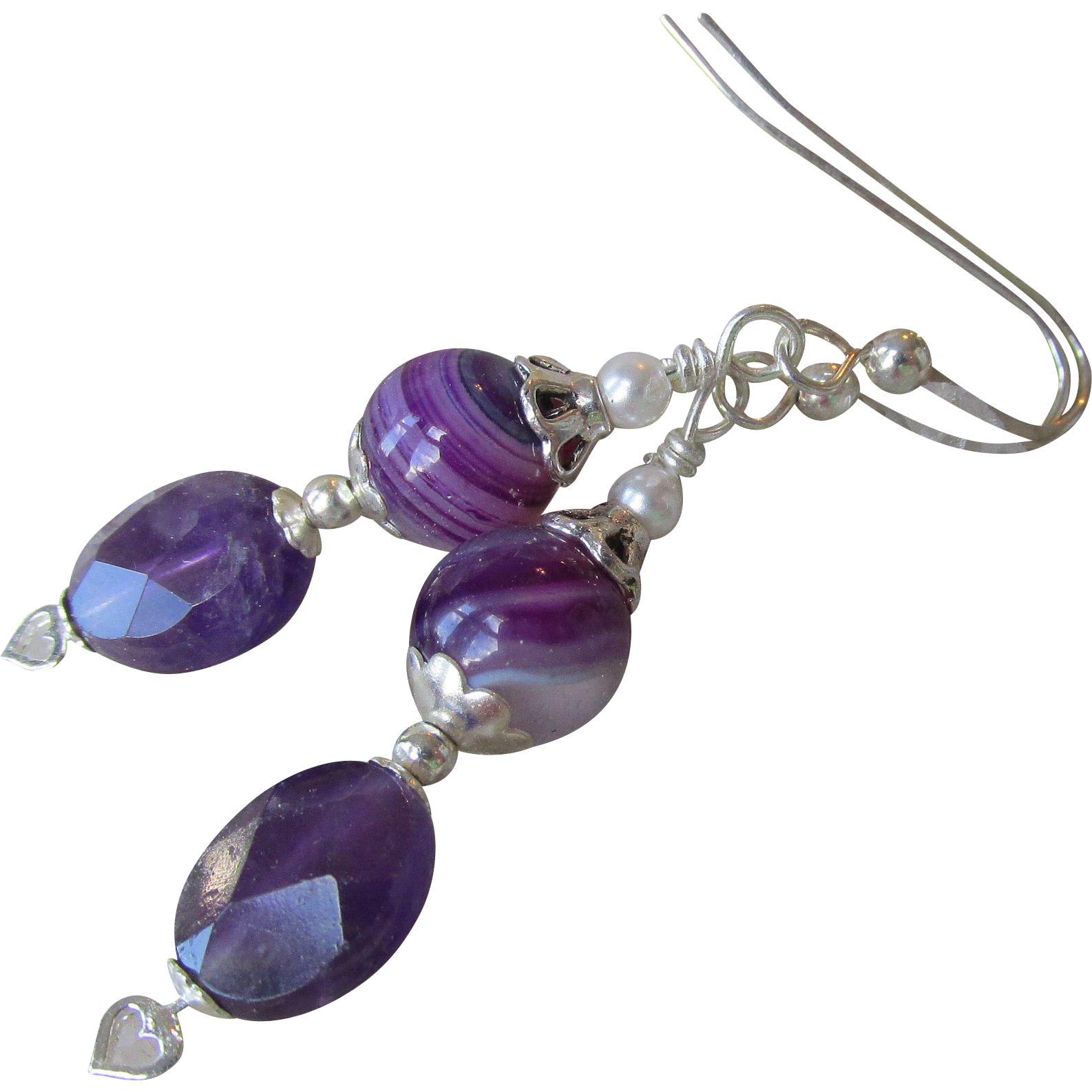 """My Secret Garden"" Art Glass & Amethyst Artisan Earrings, ""Lavender Dreams"" #88"