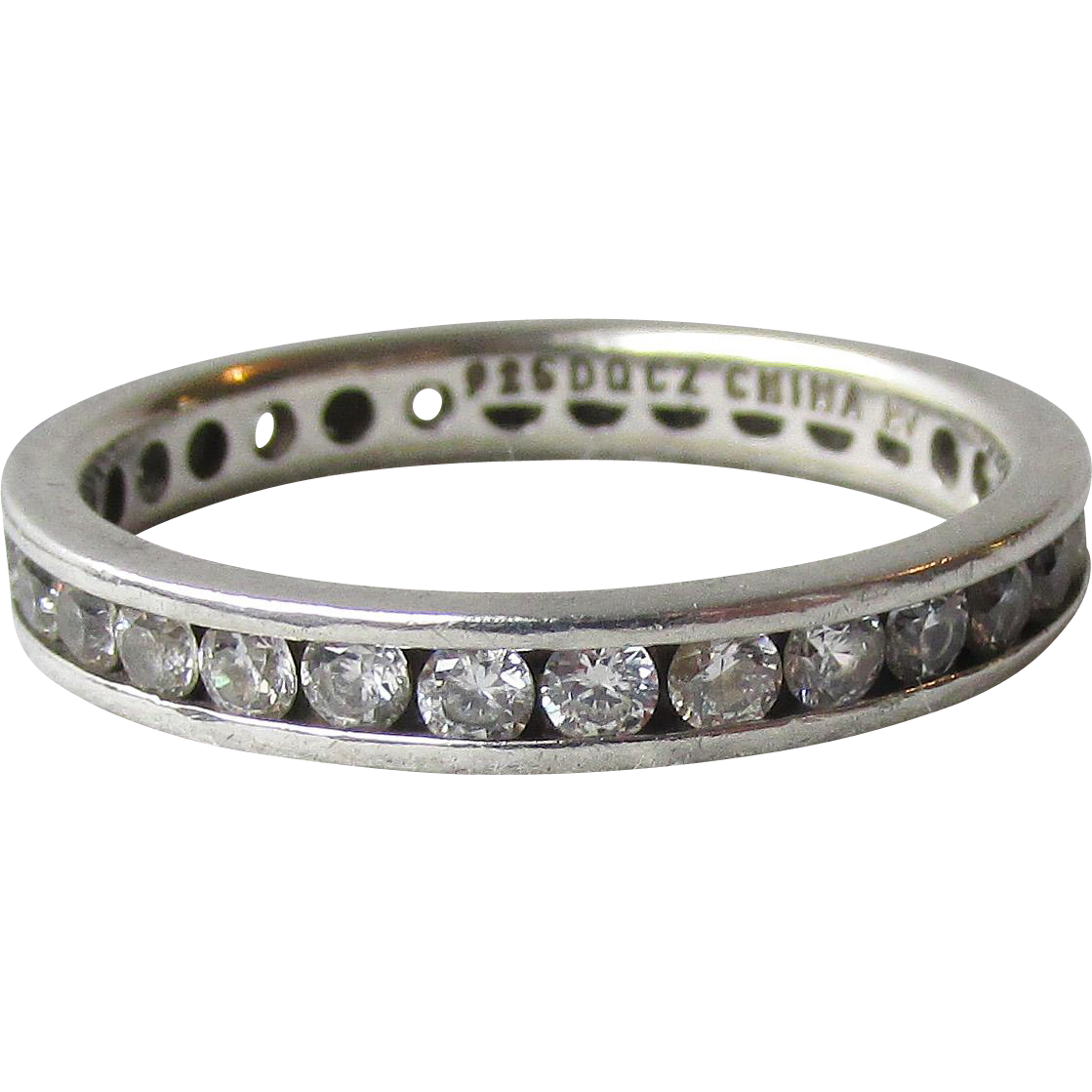 Sterling Silver Channel Set Cubic Zirconia Vintage Band Ring, Size 10
