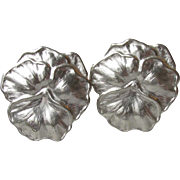BIG Sterling Silver Vintage PANSY or VIOLET Flower Post Pierced Earrings