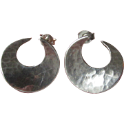 Vintage Hammered Sterling Silver 3/4 MOON Pierced Earrings