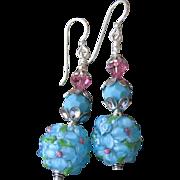 """""""My Secret Garden"""" Lampwork Art Glass Artisan Earrings, """"Caribbean Petals"""" #89"""