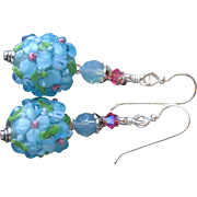 """My Secret Garden"" Lampwork Art Glass & Swarovski Crystal Artisan Sterling Silver Earrings, ""Himalayan Blue Poppy"" #90"