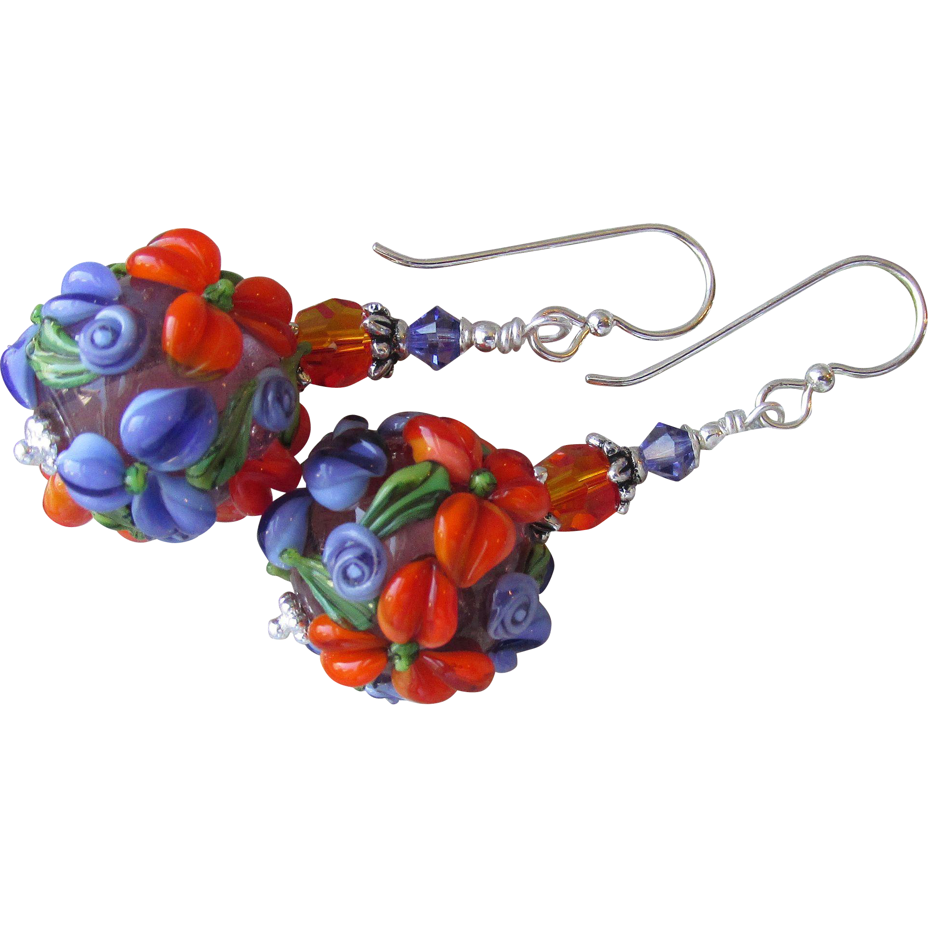 """My Secret Garden"" Art Glass & Swarovski Crystal Sterling Silver Artisan Earrings, ""Tangerine Blossom"" #93"