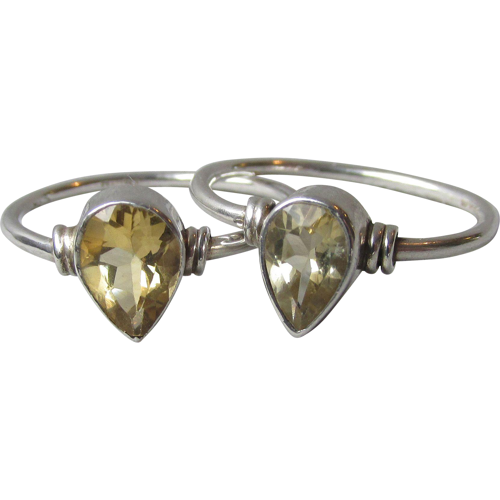 Pair of Vintage Sterling Silver & Teardrop CITRINE Solitaire Stacking Rings, Size 8