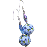"""My Secret Garden"" Lampwork Art Glass & Swarovski Crystal Sterling Silver Artisan Earrings, ""Pretty Periwinkles"" #91"
