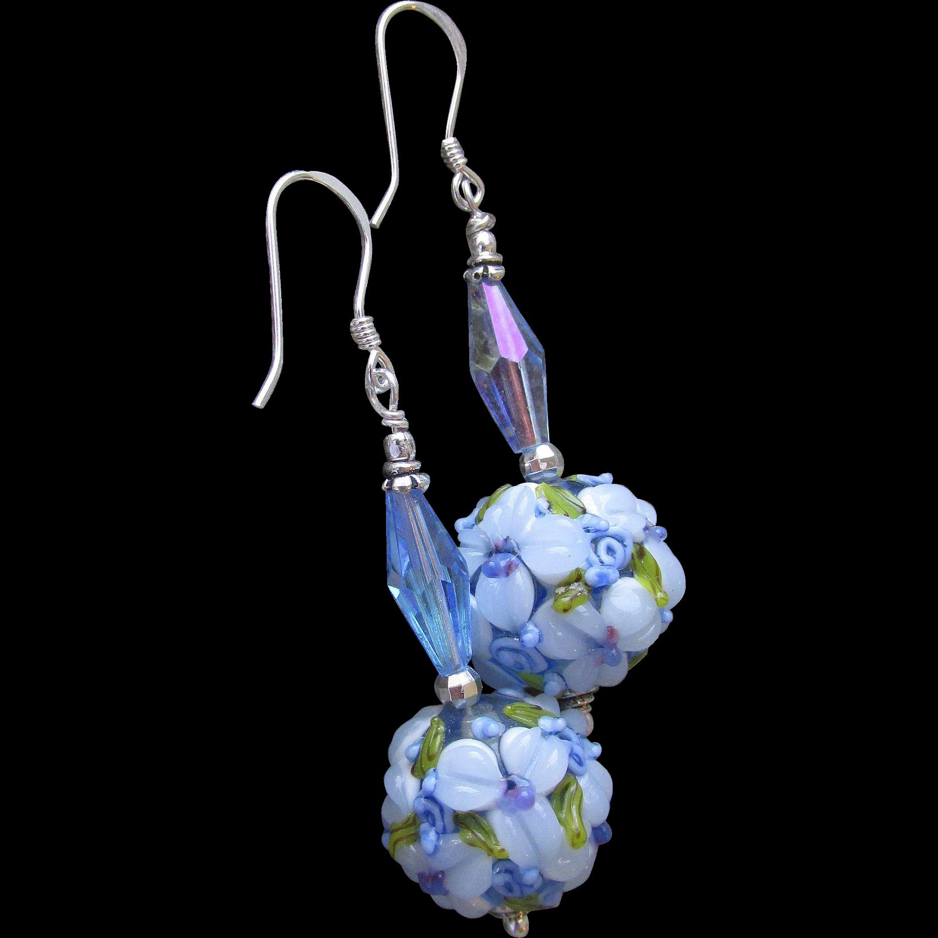 """""""My Secret Garden"""" Lampwork Art Glass & Swarovski Crystal Sterling Silver Artisan Earrings, """"Pretty Periwinkles"""" #91"""