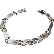 Unusual Sterling Silver White Enamel Siam Niello Vintage Bracelet