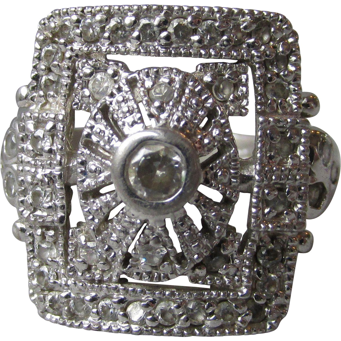 Victorian Revival Sterling Silver & Cubic Zirconia Big Square Vintage Ring