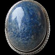 "BIG 1"" Long Sterling Silver LAPIS Lazuli Ring, Size 7"