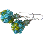 """My Secret Garden"" Art Glass Artisan Earrings, ""Aqua Mojito"" #92"