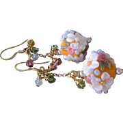 """My Secret Garden"" Lampwork Art Glass Artisan Earrings, ""Orange Blossom"" #94"
