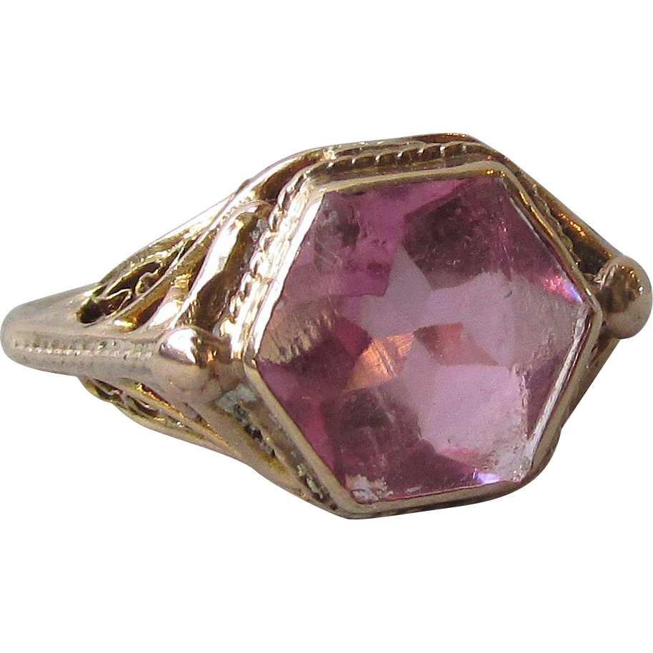10k Gold 1920's Art Deco Filigree Pink Stone Vintage Ring, Size 4.5