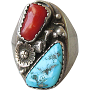 BIG 1970's Vintage Native American Navajo Sterling Silver, Turquoise & Red Coral Ring, Unisex Size 10.5