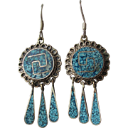 Vintage 1970's Taxco Mexico Long Dangle Sterling Silver & Crushed Turquoise Pierced Earrings