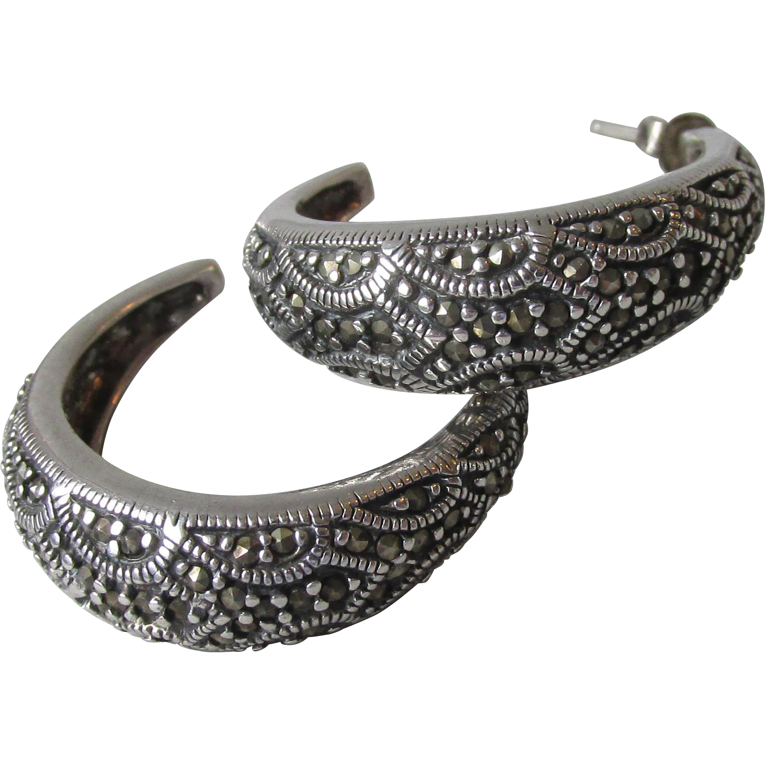 Pretty Sterling Silver & Marcasite Wide Hoop Pierced Earrings