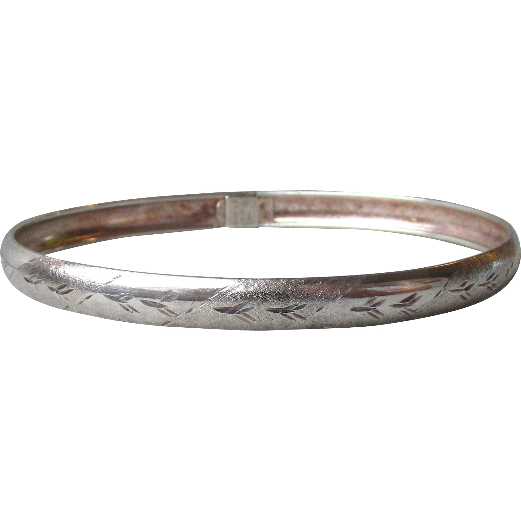 Thin Italian Sterling Sterling Etched & Textured Vintage Bangle Bracelet
