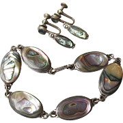 Mexico Sterling Silver with Abalone Bracelet & Earrings Set, Vintage Demi Parure