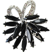 Pretty 1960's Vintage Rhodium Plated Black Navette Rhinestone Bow Pin