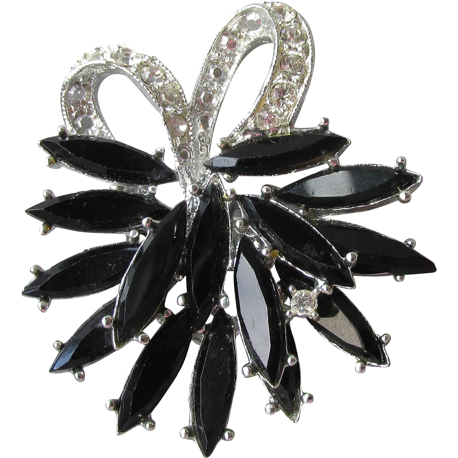 Pretty 1960's Vintage Rhodium Plated Black Navette Rhinestone Bow Pin