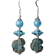 """My Secret Garden"" Vintage Art Glass Bead with Swarovski Crystal Sterling Silver Artisan Earrings, ""Mountain Lake""  #84"