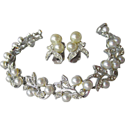 Signed Marvella Faux Pearl & Rhinestone Rhodium Plated Bracelet & Earrings Set, Vintage 1960's Demi Parure