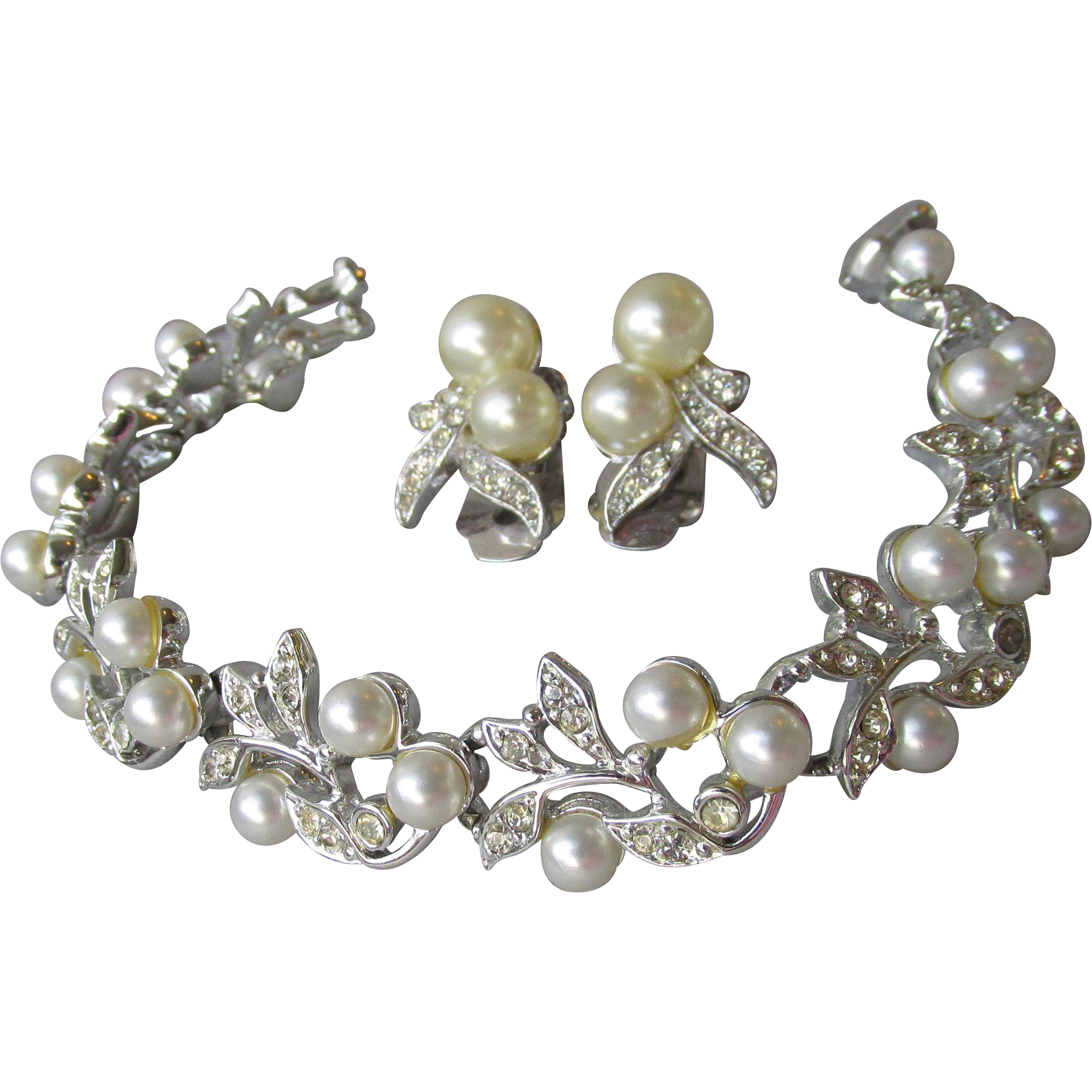 Signed Marvella Faux Pearl & Rhinestone Rhodium Plated Bracelet & Earrings Set, Vintage 1960's Demi Parure