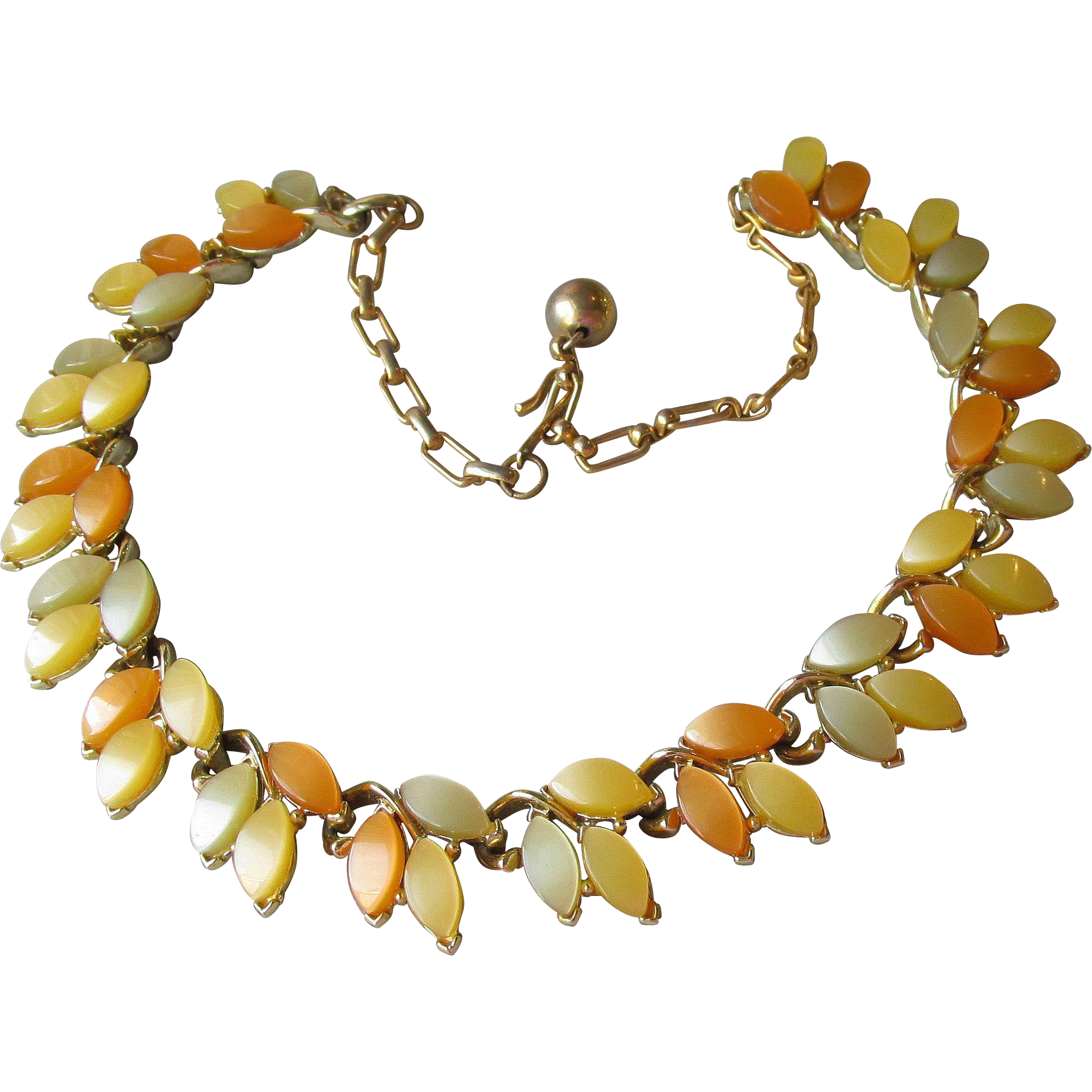 Signed Schrager Lemon & Apricot Leaf 1950's Thermoset Necklace