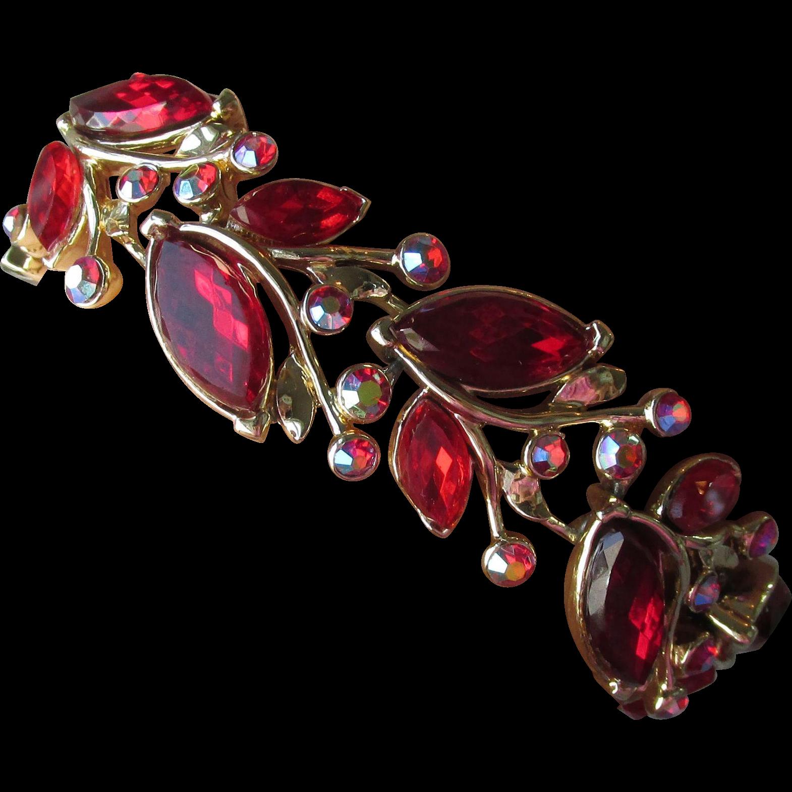 Spectacular Vintage Signed STAR Red Marquise Rhinestone Bracelet