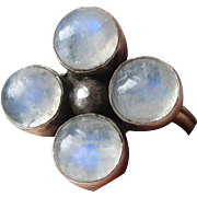 Four Blue Moonstone Clover Sterling Silver Vintage Ring, Size 6