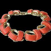 Signed LISNER Vintage 1950's Gold Tone with Orange Thermoset Lucite Bracelet