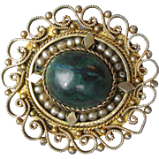 Vintage Israel Judaica Gold Plated Sterling Silver Filigree & Seed Pearl Eilat Malachite Pin or Pendant