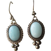 Bali Sterling Silver & Amazonite Vintage Dangle Pierced Earrings