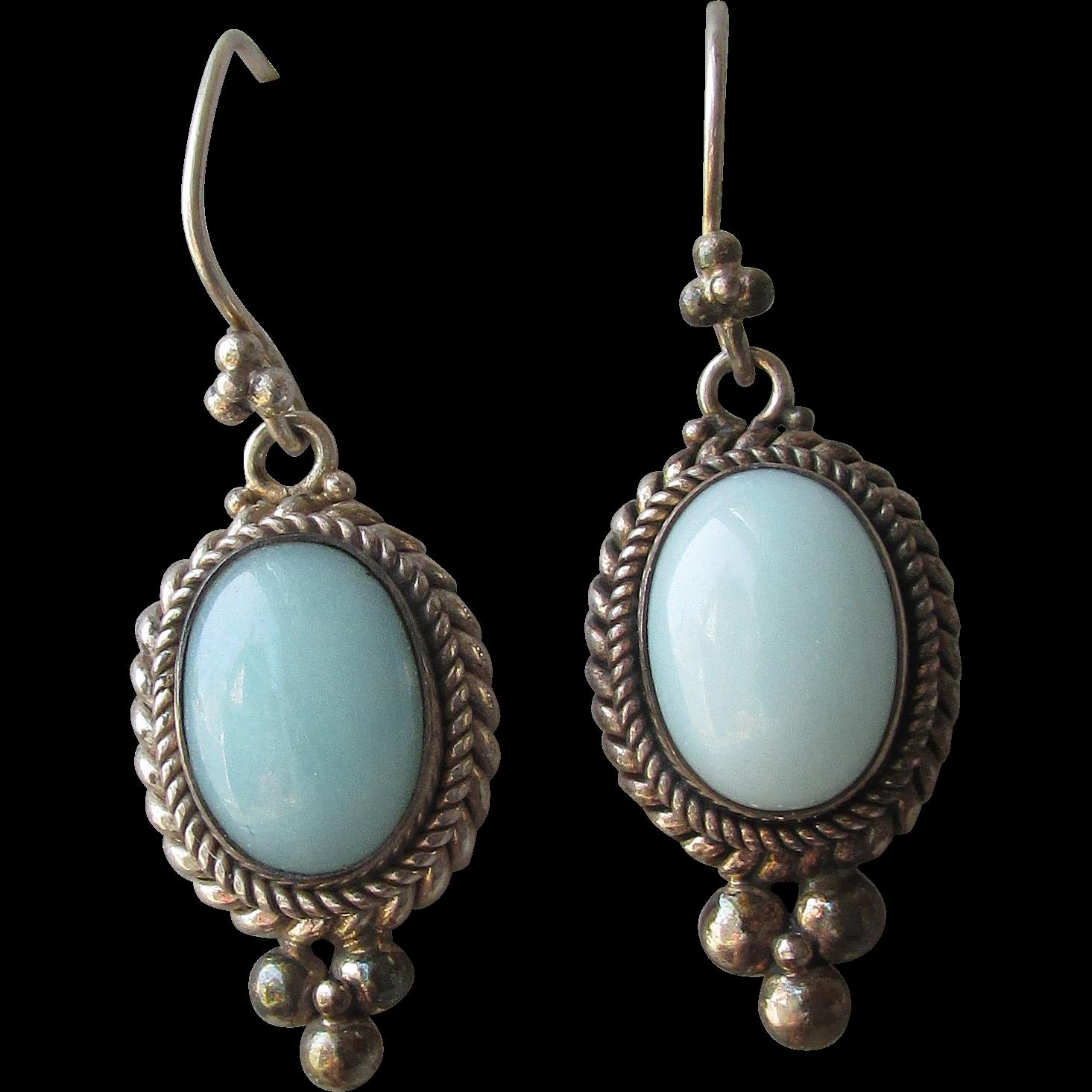 Bali Sterling Silver & Amazonite Vintage Dangle Pierced Earrings