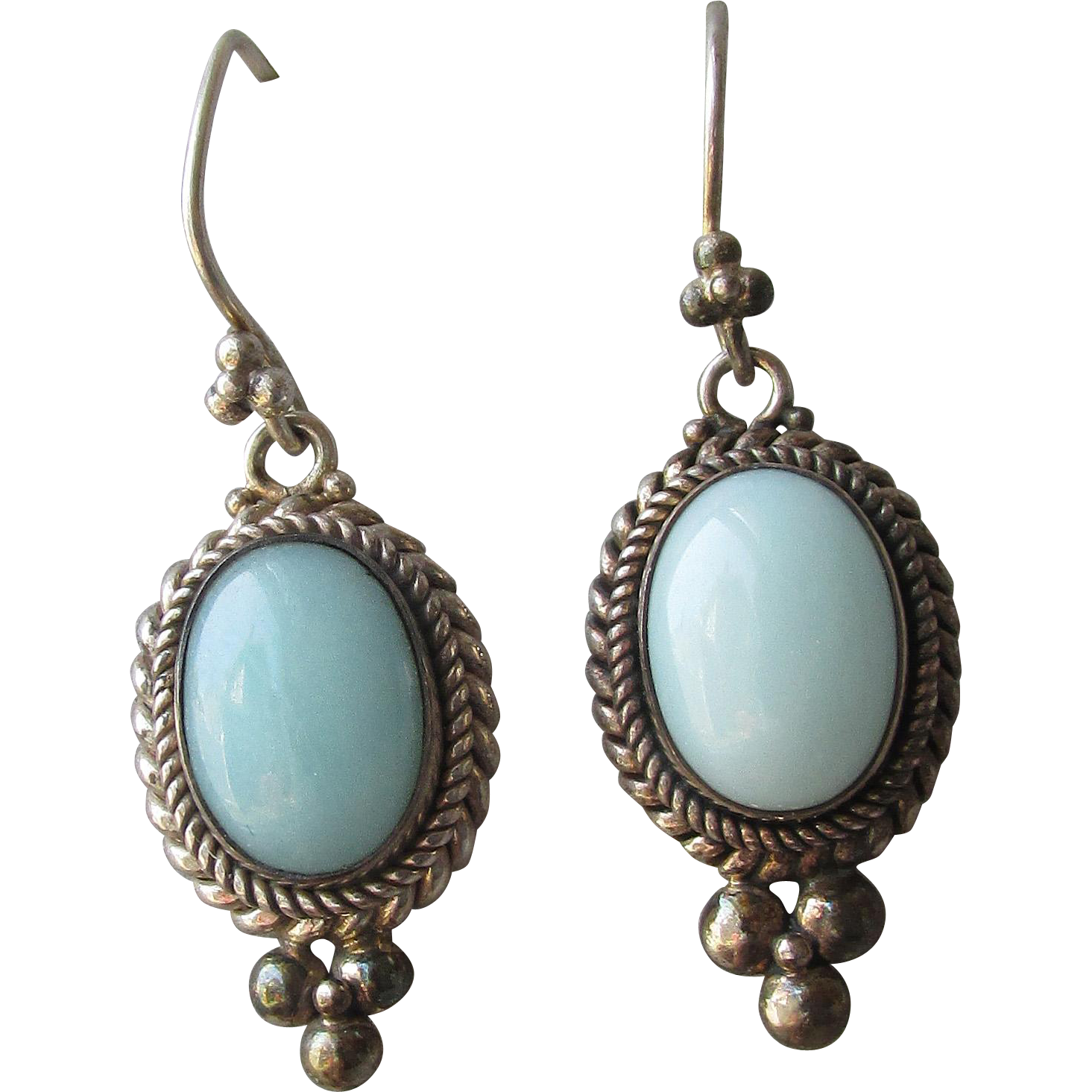 Gorgeous BIG 1980's Sterling Silver & Larimar Vintage Dangle Pierced Earrings