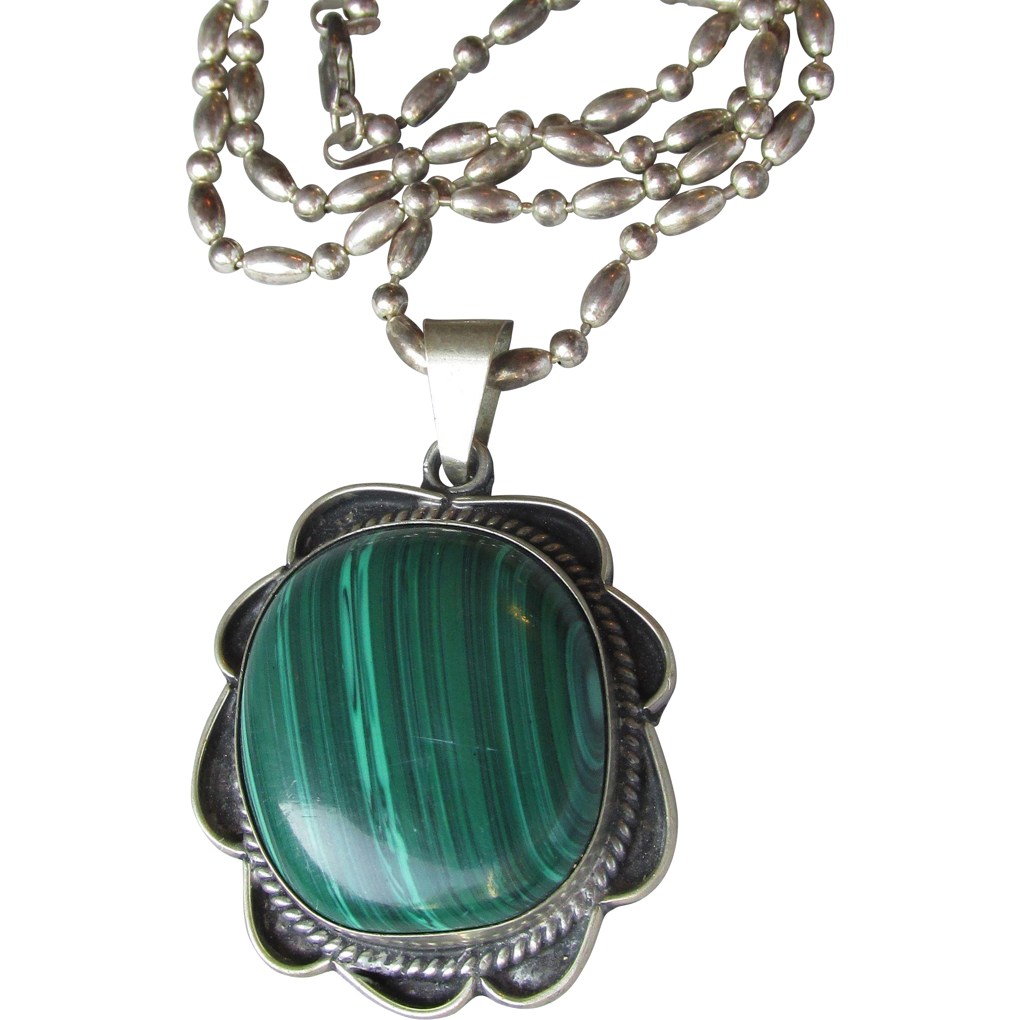 Exceptional Large Vintage Malachite in Sterling Silver Taxco Mexico Pendant Necklace
