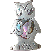 CUTE Vintage Mexico 925 Sterling Silver & Abalone Shell OWL Pin Brooch