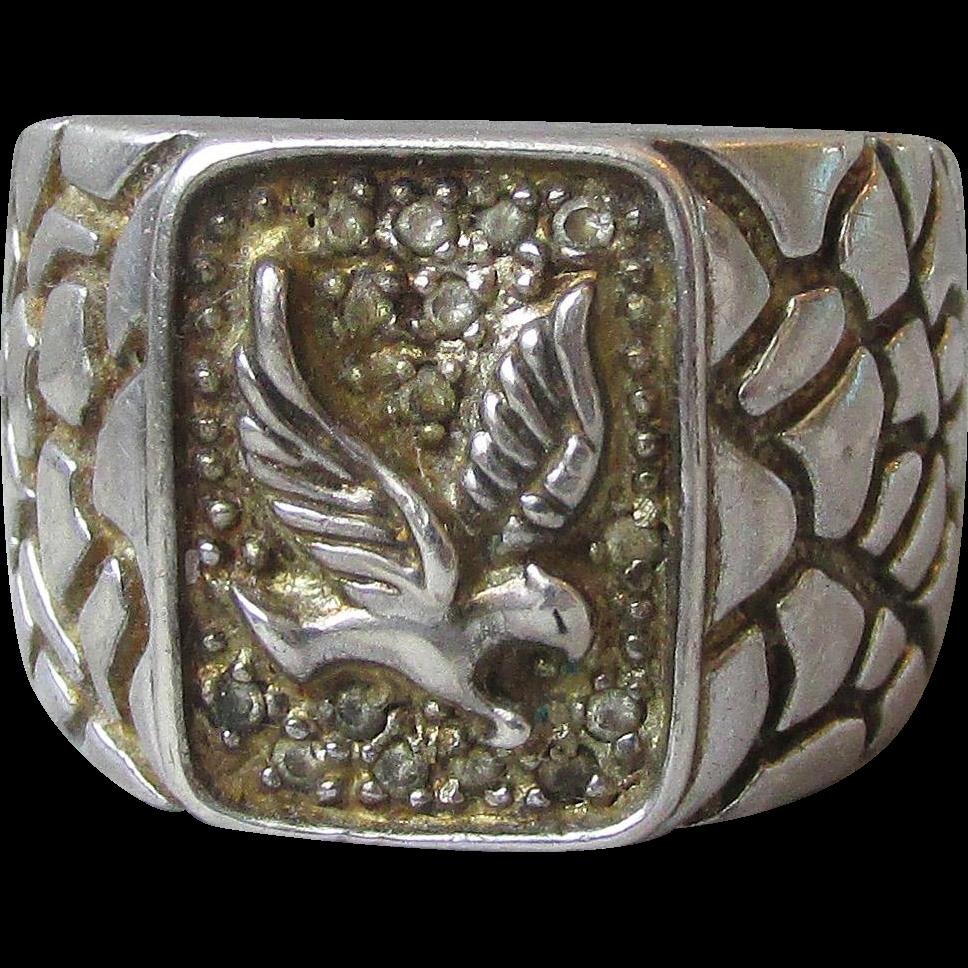 Men's Vintage Sterling Silver Eagle Ring, Size 11