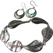 "Vintage Mexico Sterling Silver & Abalone 8"" LEAF Bracelet & Hoop Converted Pierced Earrings"