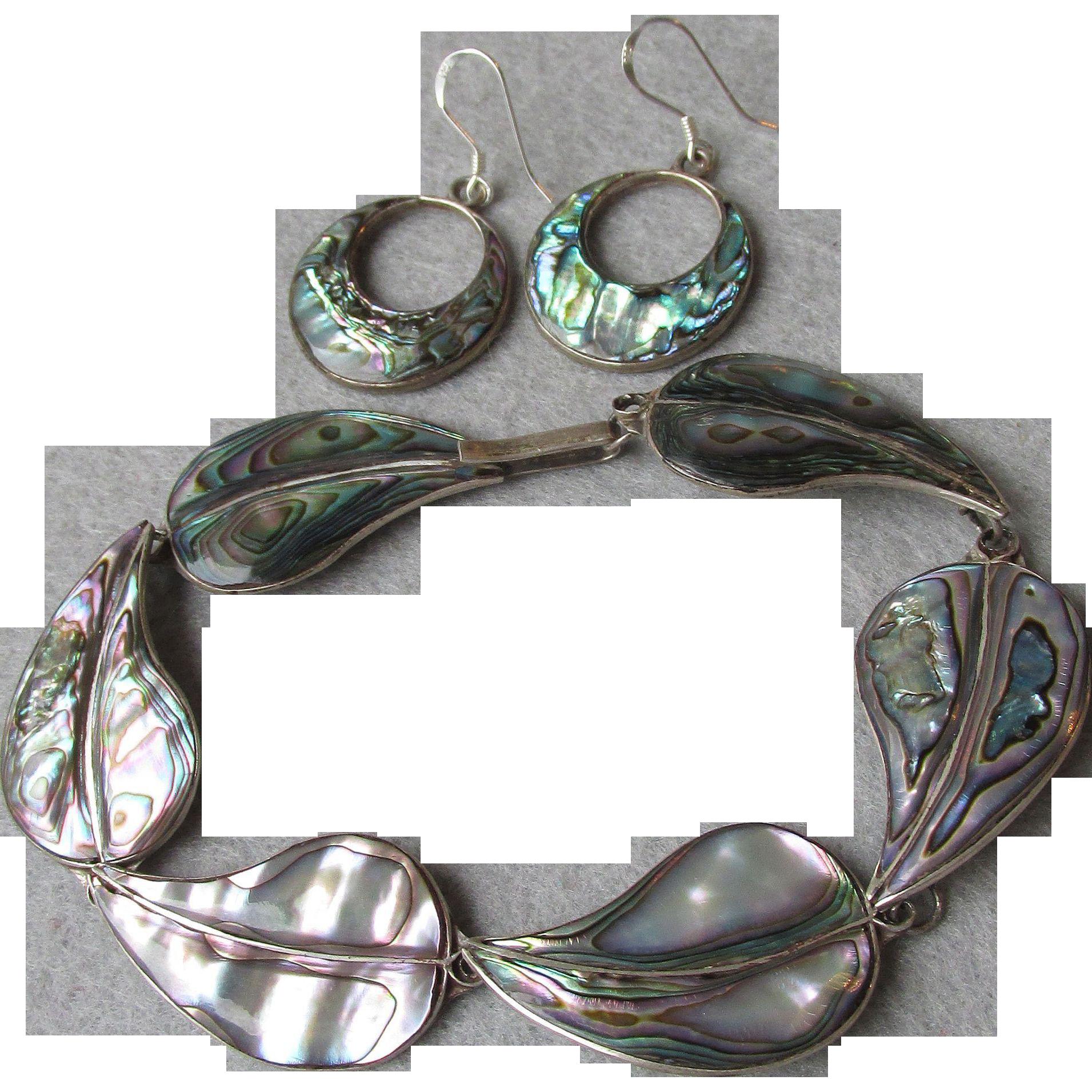 """Vintage Mexico Sterling Silver & Abalone 8"""" LEAF Bracelet & Hoop Converted Pierced Earrings"""