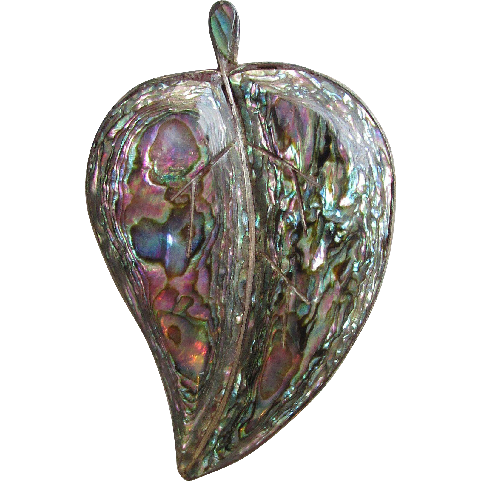 BIG Mexican Sterling Silver & Abalone LEAF Pin, Vintage 1970's Taxco Brooch
