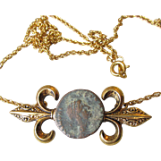 Reproduction Ancient Roman Coin Gold-Tone Necklace, Vintage 1960's Korea