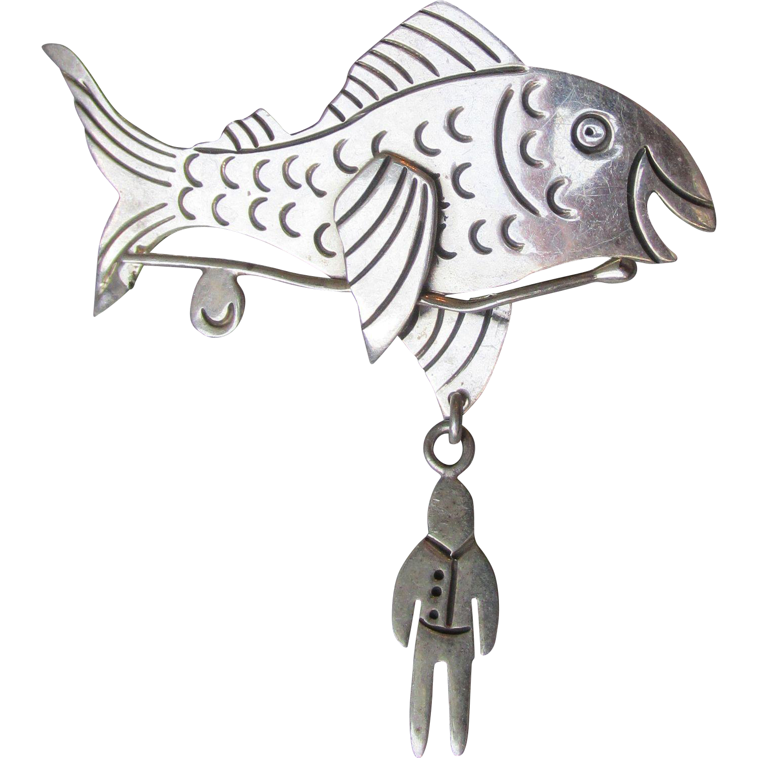 Vintage Mexico Taxco Sterling Silver Tack Pin, Fish Caught Man