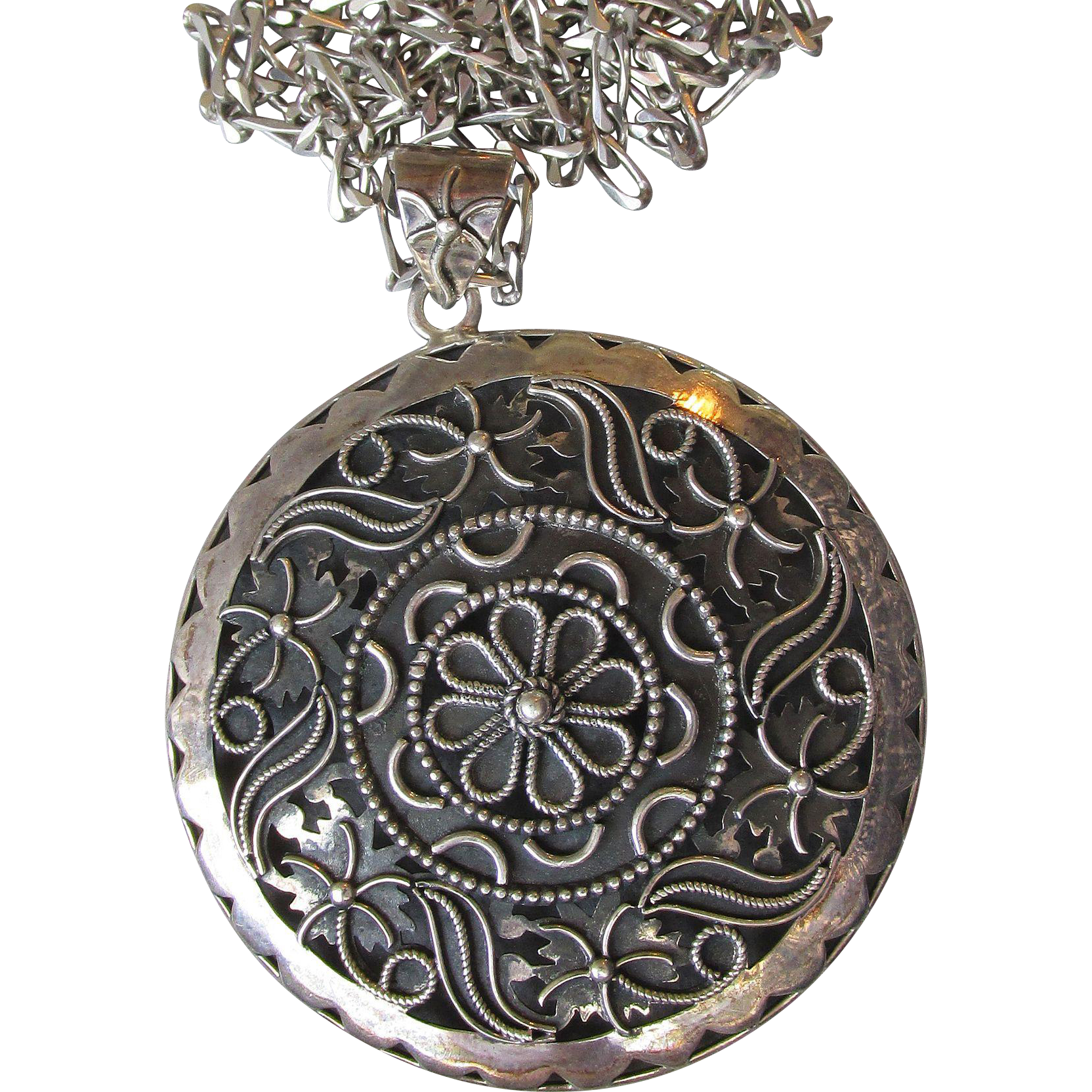 "BIG Made in India Sterling Silver Medallion Pendant Necklace on 29"" LONG Chain"