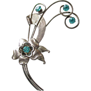 Signed 1940's Harry Iskin Retro Sterling Silver & Aqua Rhinestone ROSE Flower Bouquet Brooch, Vintage WW2 Pin