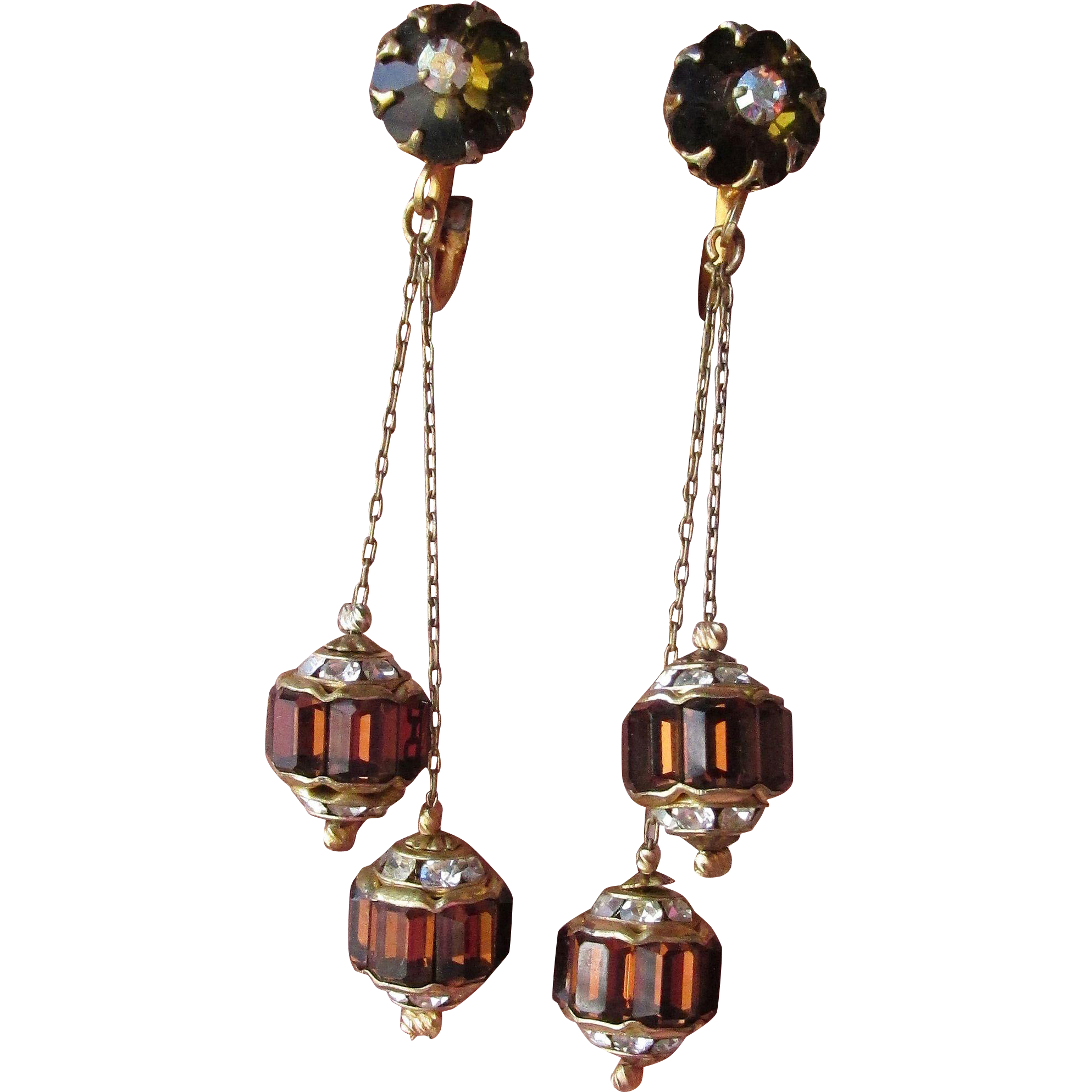 Exceptional Root Beer Rhinestone Double Rondelle Long Dangle 1950's Clip Earrings
