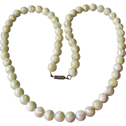 "Chunky Vintage 26"" Mother-of-Pearl 12mm Bead Necklace"